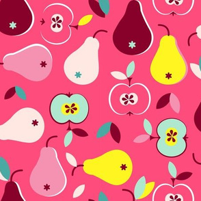 juicy fruits apples pears on pink
