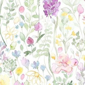 Midsummer watercolor wild flowers large scale