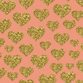 Hearts - Gold Glitter Dusty Pink