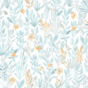 Summer sunset / Watercolor leaves in teal blue gray gold on white background
