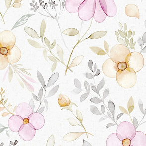 Spring Pink flowers on off white - Large