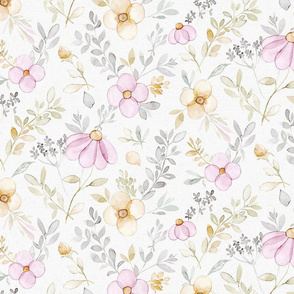 Spring Pink flowers on off white - Medium