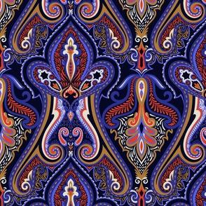 Pattern Sapphire Blue Paisley (Medium scale)