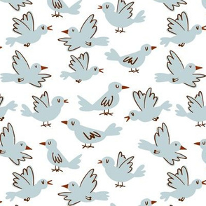 Blue birds on white background