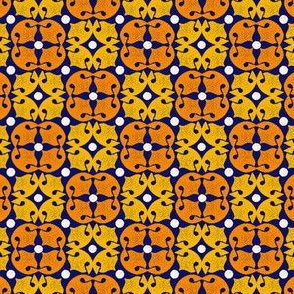 Dog Noseprint Moroccan Tile in  Yellow, Orange, Blue and White by Paducaru