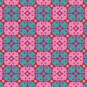 Dog Noseprint Moroccan Tile in  Purple, Pink, Aqua and Yellow by Paducaru