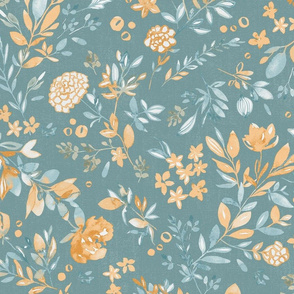 Summer sunset watercolor floral teal