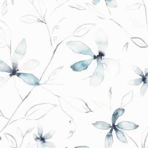 Clematis / blue and white watercolor floral large scale