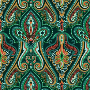 Vintage Paisley Green