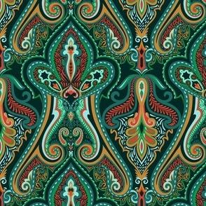 Vintage Paisley Green