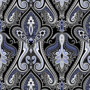 Vintage Paisley Grey&Light Blue