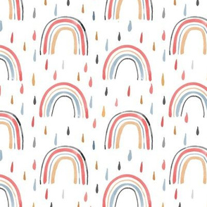 Watercolor Rainbows & Raindrops in Coral, Blue and Yellow