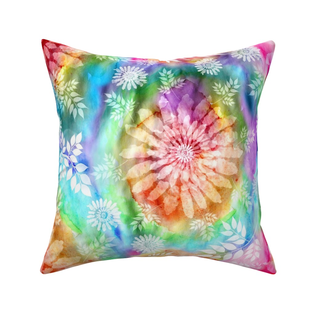 Catalan Throw Pillow featuring Botanical Watercolor Tie Dye by irishvikingdesigns