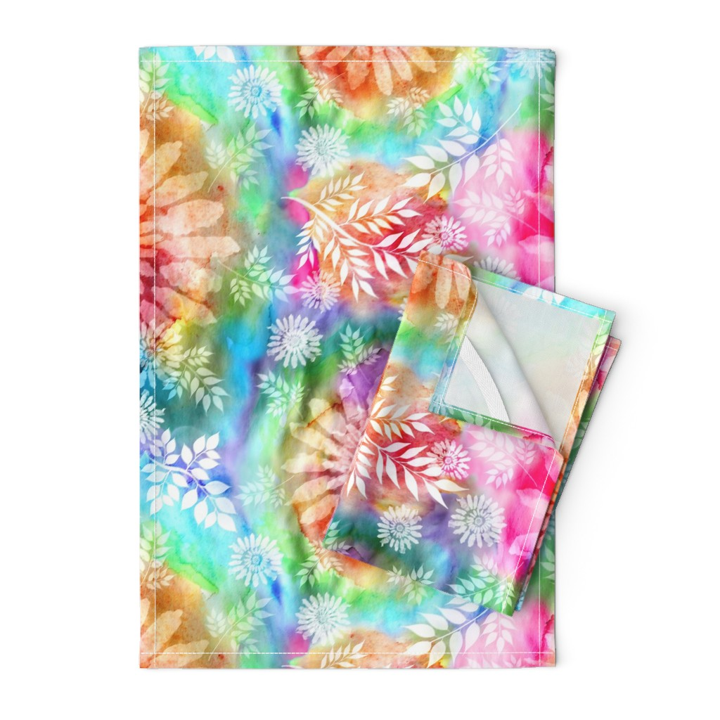 Orpington Tea Towels featuring Botanical Watercolor Tie Dye by irishvikingdesigns