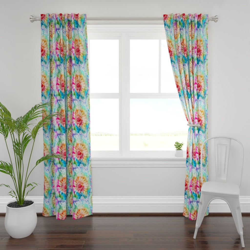 Plymouth Curtain Panel featuring Botanical Watercolor Tie Dye by irishvikingdesigns