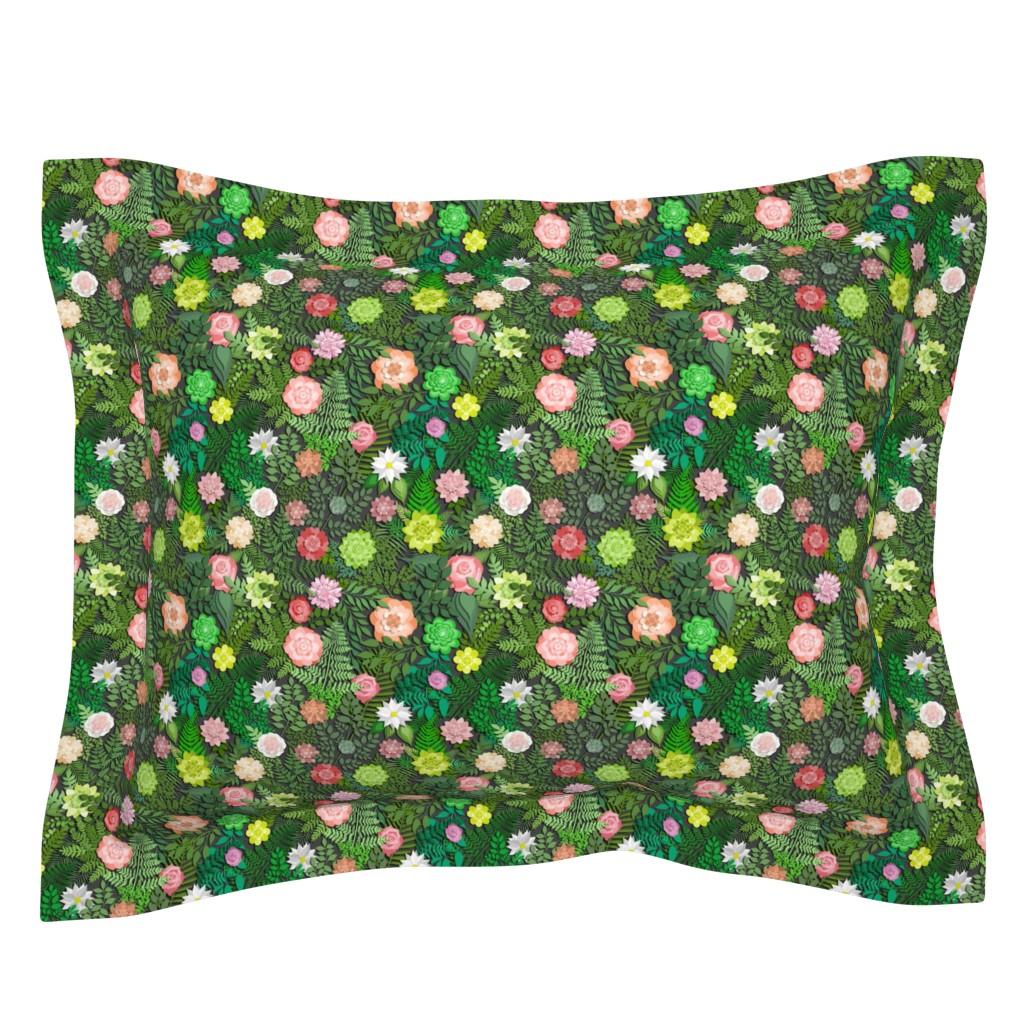 Sebright Pillow Sham featuring Botanic Papercut Garden by irishvikingdesigns