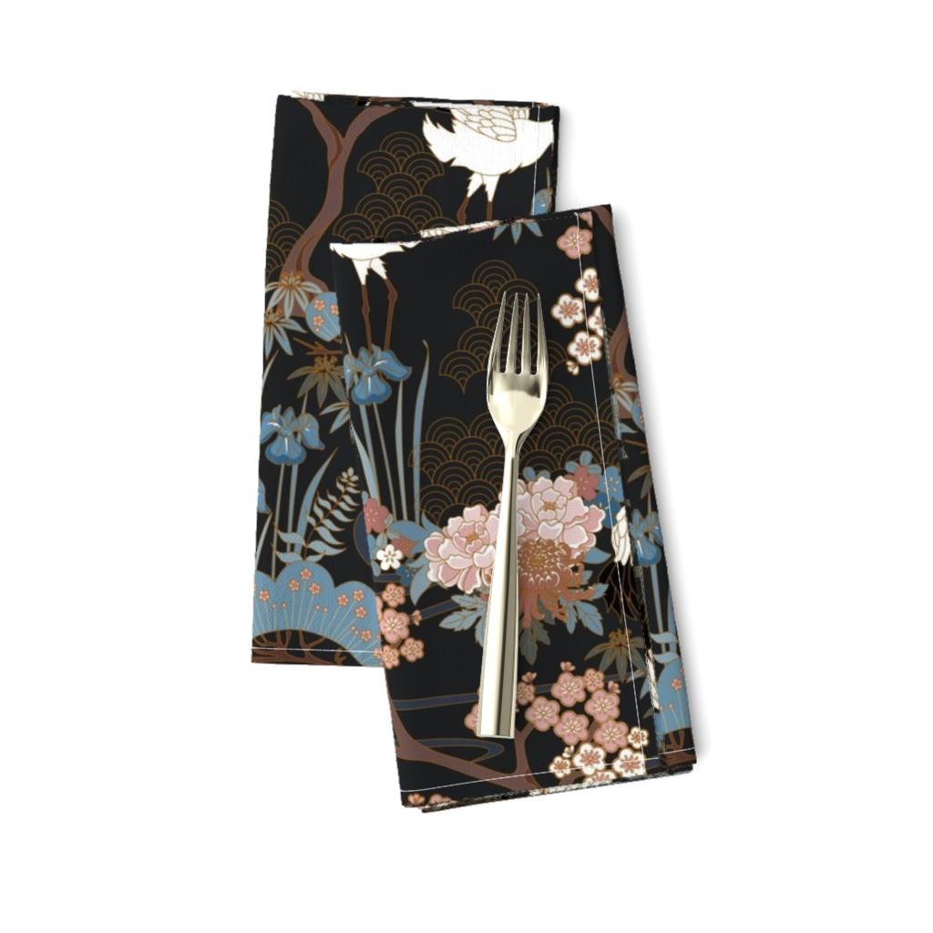 Amarela Dinner Napkins featuring Japanese Garden Charcoal by juditgueth