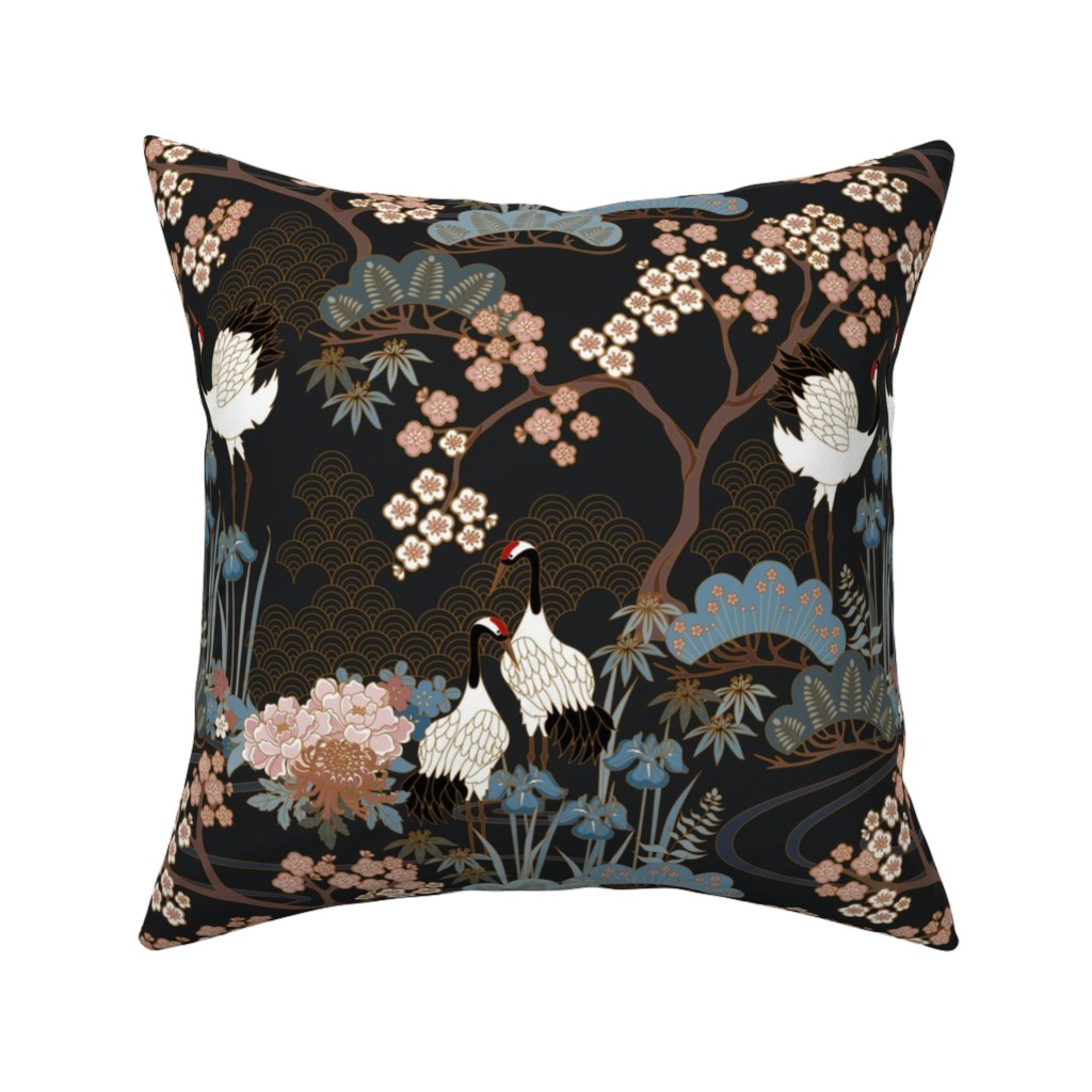 Catalan Throw Pillow featuring Japanese Garden Charcoal by juditgueth