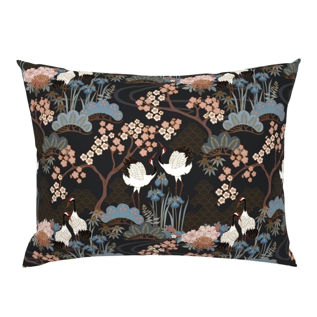 Campine Pillow Sham featuring Japanese Garden Charcoal by juditgueth
