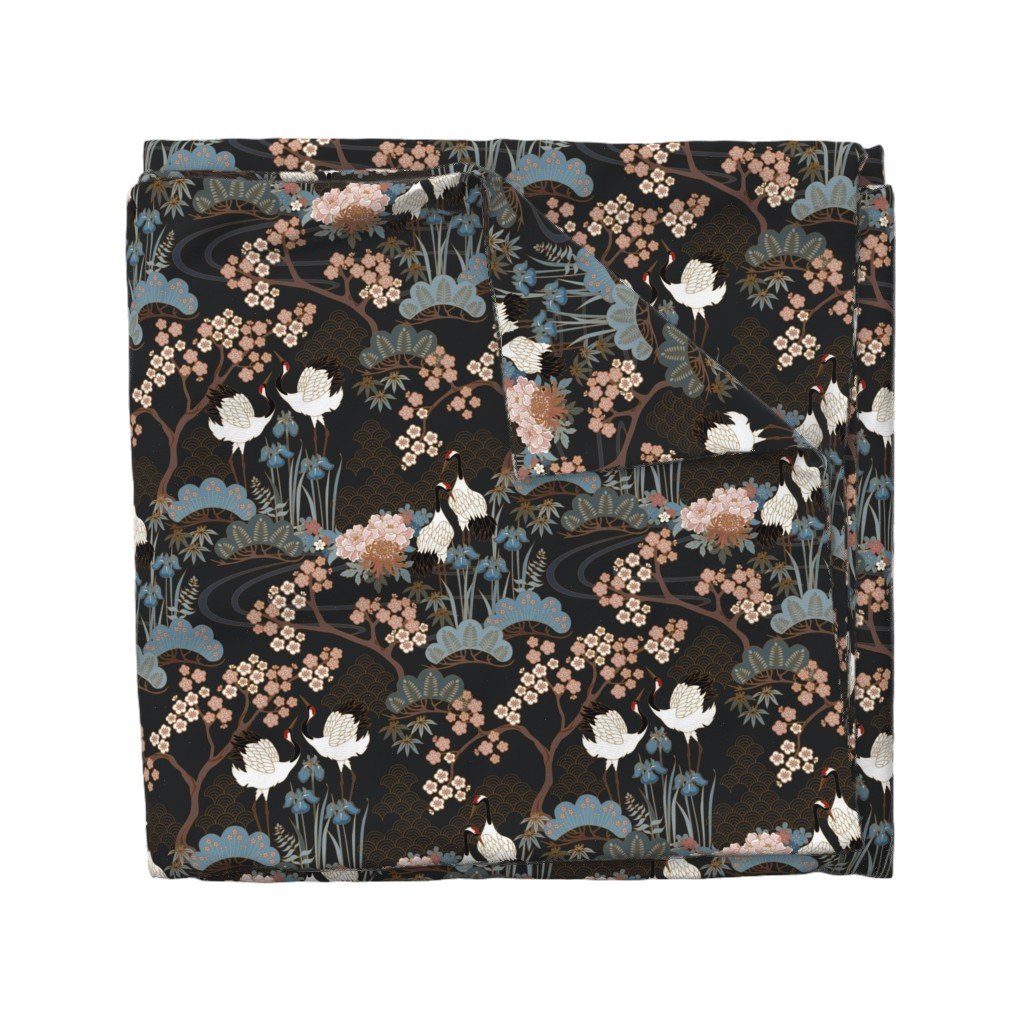 Wyandotte Duvet Cover featuring Japanese Garden Charcoal by juditgueth