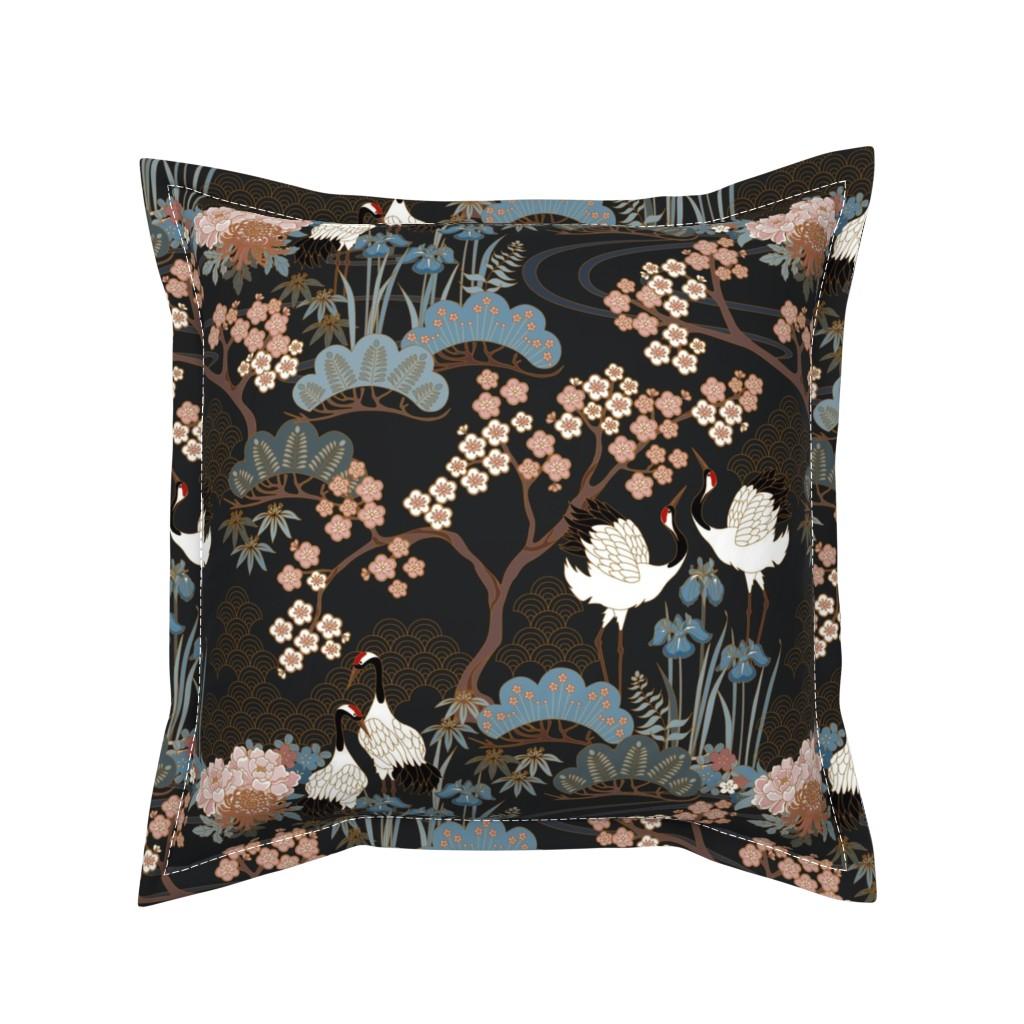 Serama Throw Pillow featuring Japanese Garden Charcoal by juditgueth