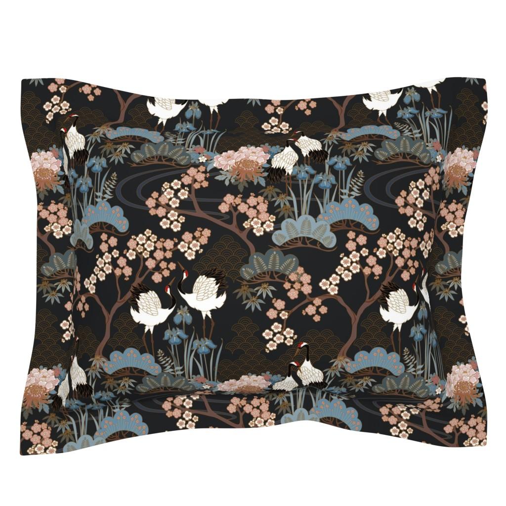 Sebright Pillow Sham featuring Japanese Garden Charcoal by juditgueth