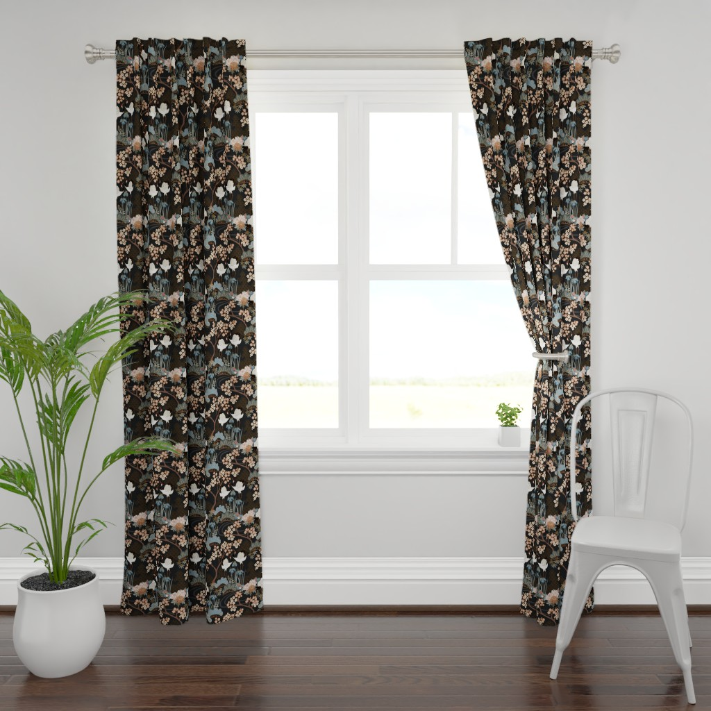 Plymouth Curtain Panel featuring Japanese Garden Charcoal by juditgueth
