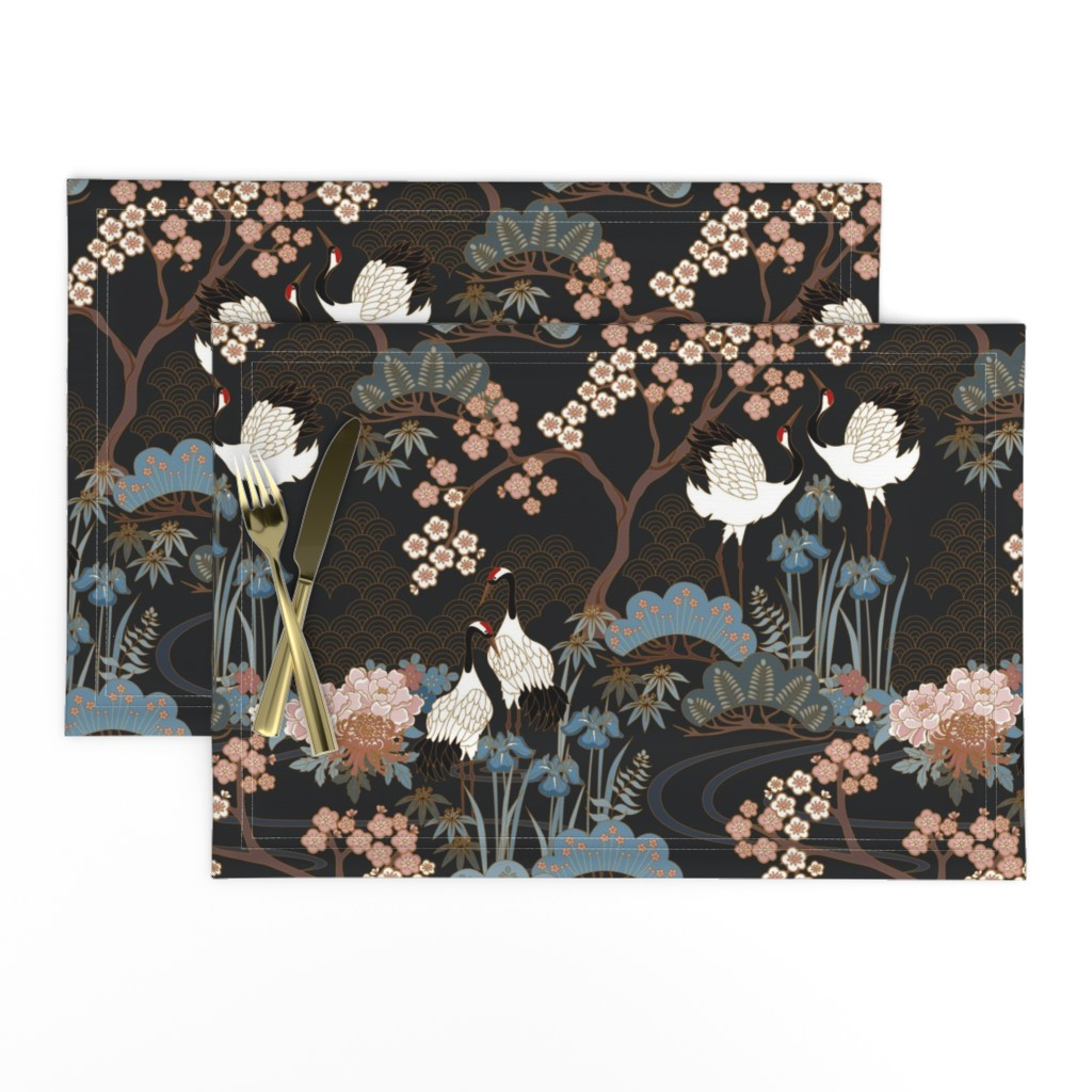 Lamona Cloth Placemats featuring Japanese Garden Charcoal by juditgueth