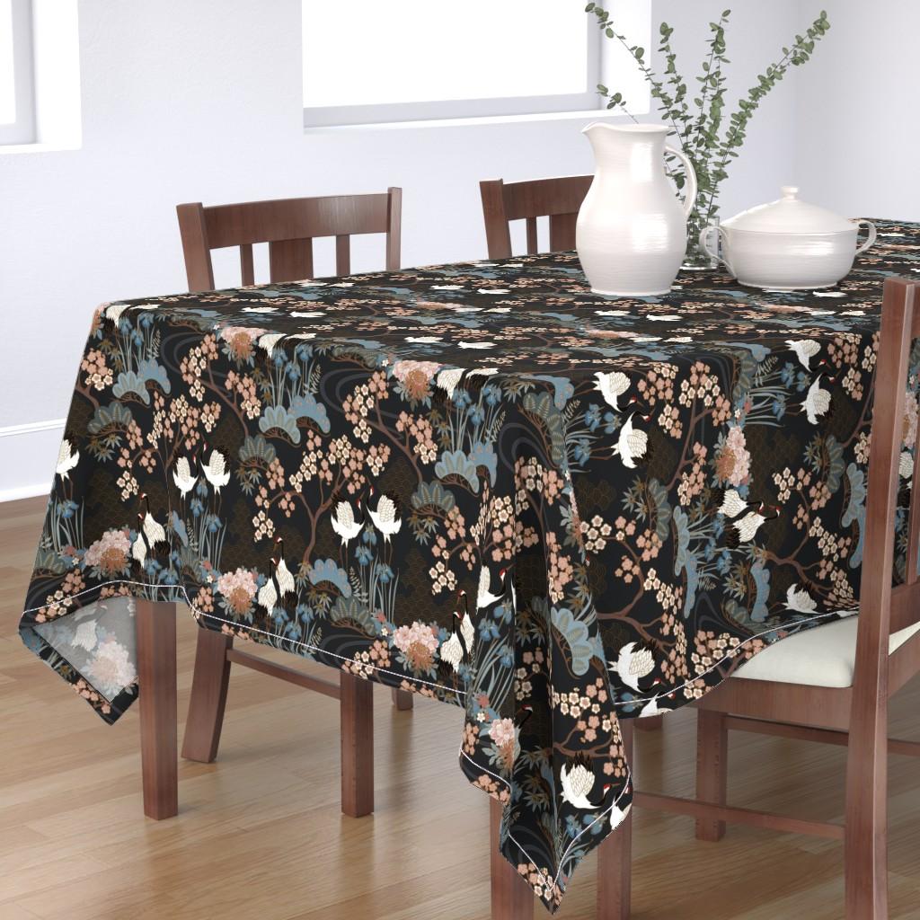 Bantam Rectangular Tablecloth featuring Japanese Garden Charcoal by juditgueth