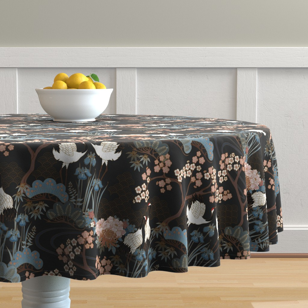 Malay Round Tablecloth featuring Japanese Garden Charcoal by juditgueth