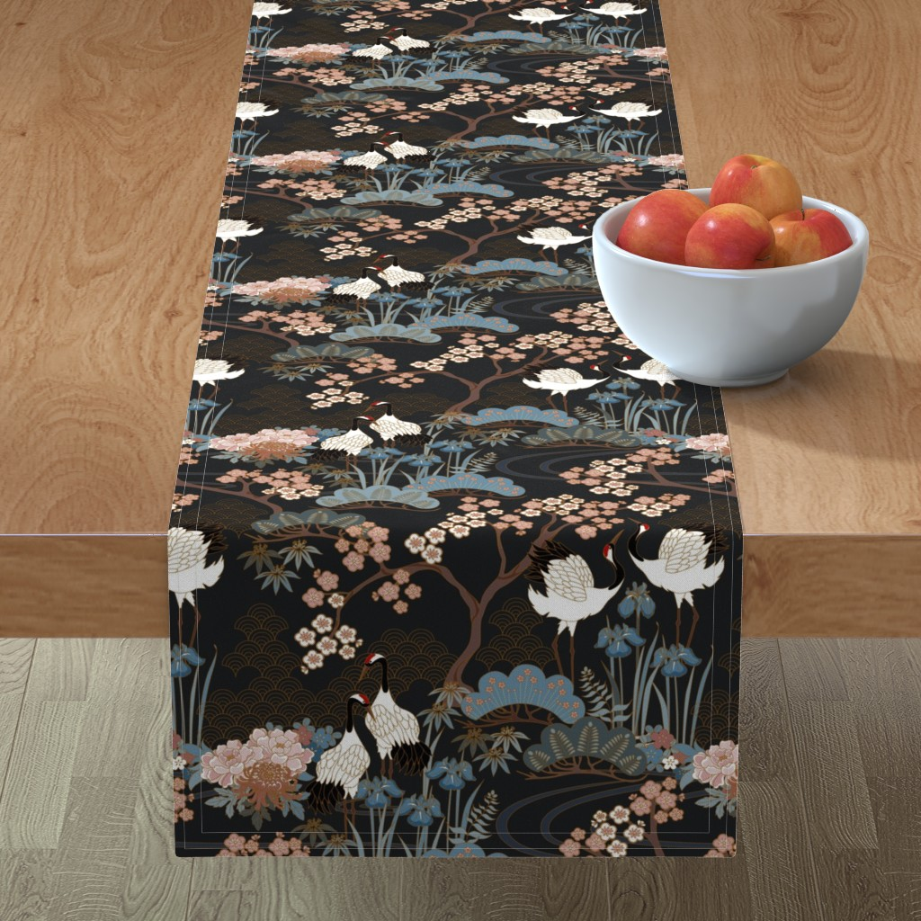 Minorca Table Runner featuring Japanese Garden Charcoal by juditgueth