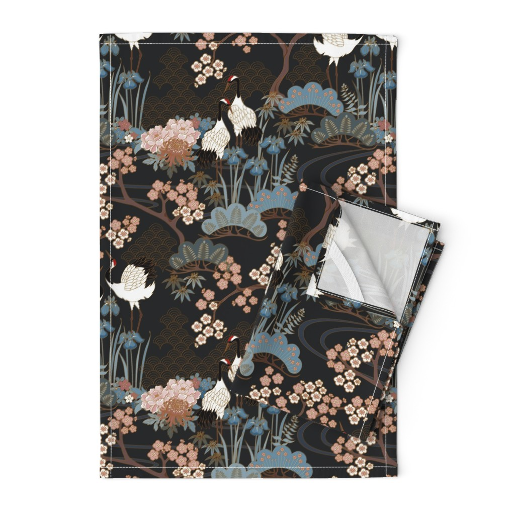 Orpington Tea Towels featuring Japanese Garden Charcoal by juditgueth