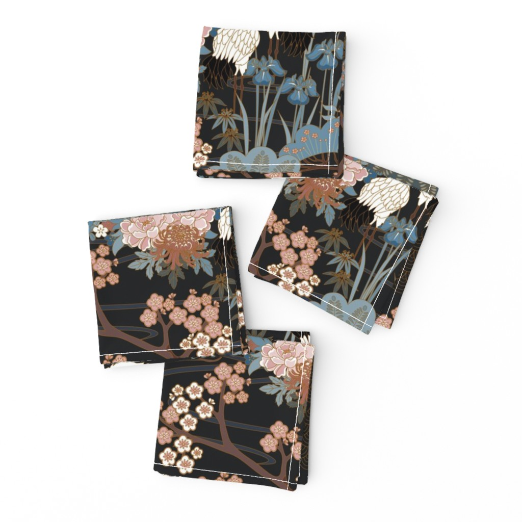 Frizzle Cocktail Napkins featuring Japanese Garden Charcoal by juditgueth