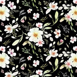 Mixed Floral Black| Daisy Magnolia Flowers|Renee Davis
