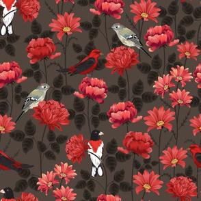 Birds & Roses Dark background