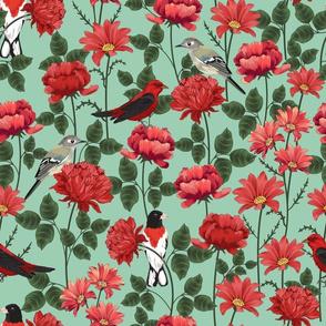 Birds & Roses Green