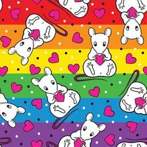 Rainbow cute rats & hearts