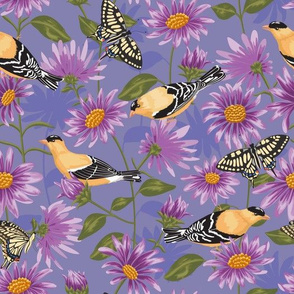 Goldfinches & Purple Asters