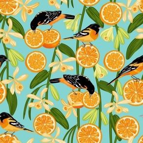 Birds & Oranges Green