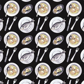 Dishes Pattern Dark