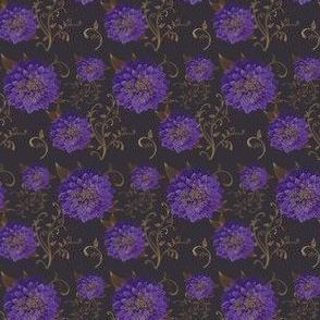 Fabrique Floral Regal Dahlias prints Purple NOT Blue