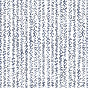 Vertical Blue Line Leaf Squiggles