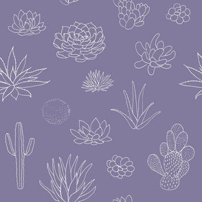 succulents and cactus handdrawn pattern