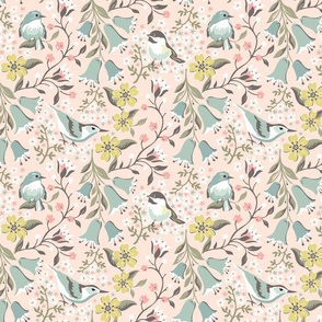 Flowers and Birds: Blush Yellow Flowers
