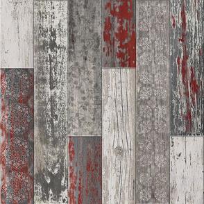 Vintage Wood Tiles Burgundy Grey Random