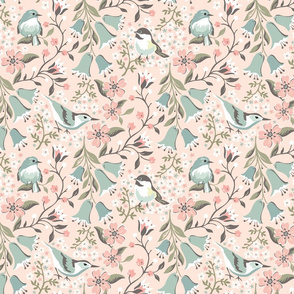 Flowers and Birds: Blush with Pink Flowers