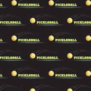 PickleBall  Yellow Text and Ball on Black