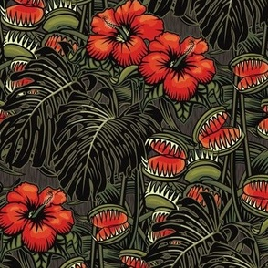 ★ TROPICAL NIGHT ★ Carnivorous Plant, Hibiscus & Monstera / Red + Olive Green, Small Small / Collection: It's a Jungle Out There – Savage Hawaiian Prints