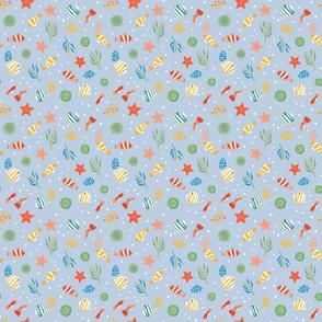 Ditsy Butterflies, Clowns, Anemones & More (LIght Blue)