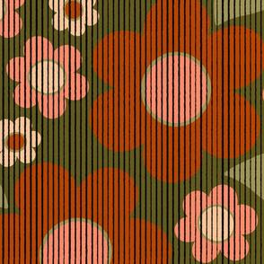 Vintage Flowers on Corduroy